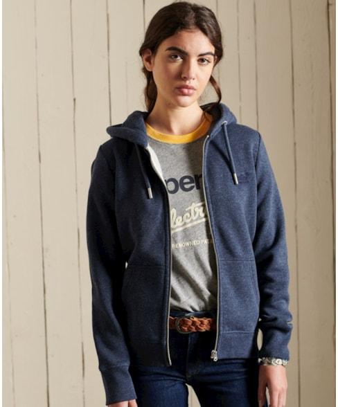 W2011119A   Geborduurde Vintage Logo hoodie met rits