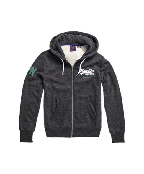 M2010441B | Geborstelde Vintage Logo Duo hoodie met rits