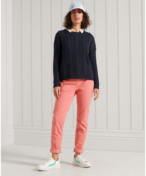 W6110166A | Superdry Dropped Shoulder Cable Crew Neck Jumper