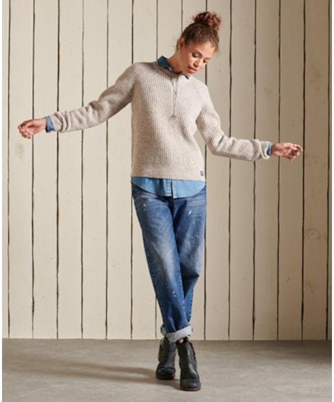 W6110342A | Geribde tweed trui met ronde hals