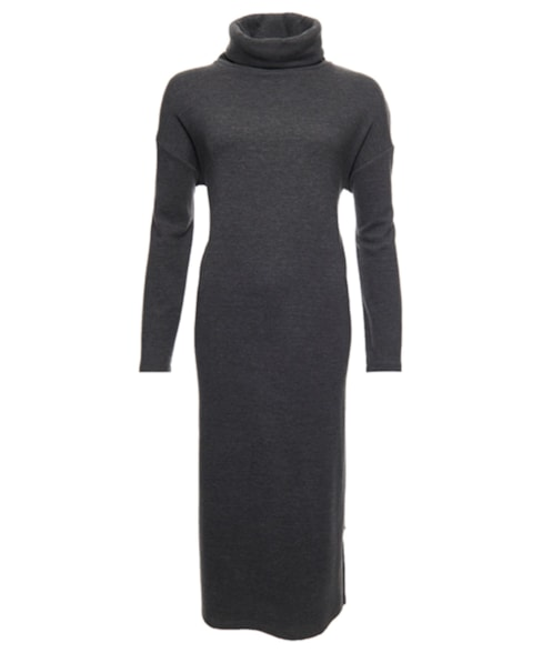 W8010443A   Zachte geribde jurk met rolkraag
