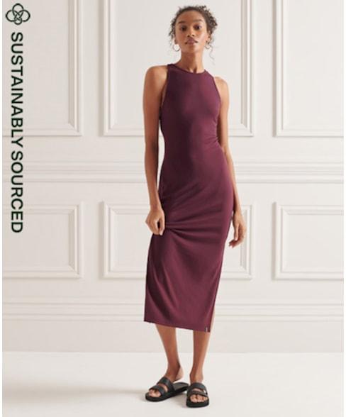W8010662A | Tencel midi-jurk met bandjes op de rug
