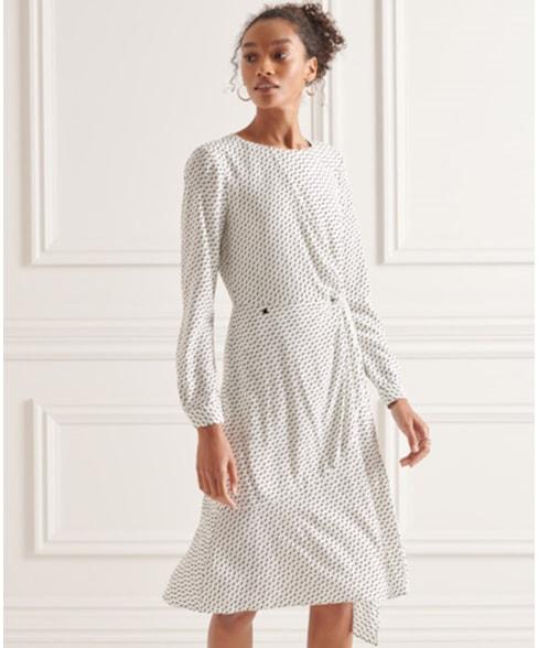 W8010768A | Superdry Ecovero Twist jurk met lange mouwen