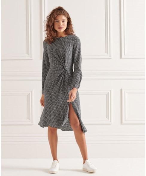 W8010768A | Ecovero Twist jurk met lange mouwen