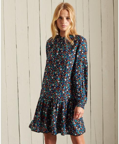 W8010898A | Mini-jurk met hoge halslijn