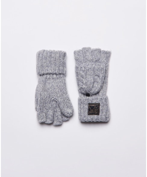 W9310039A   Tweed handschoenen met kabelpatroon